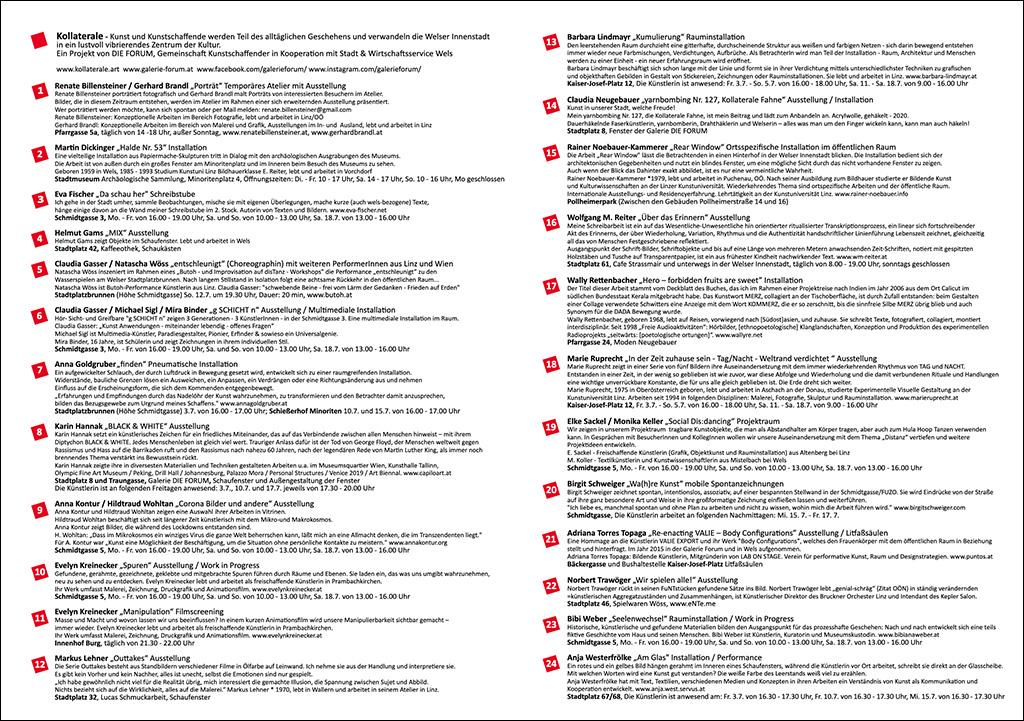 Programm und Lageplan Kollaterale